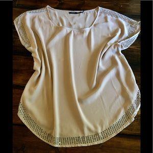 Beaded tan loose blouse